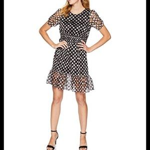 Betsy Johnson polka dot lace short sleeve dress